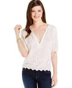 Tommy Hilfiger Embroidered Deep-v Gauze Blouse