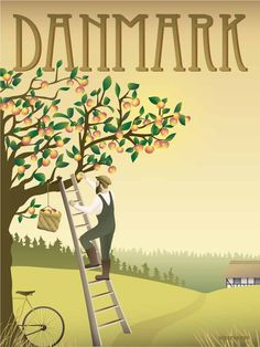 Art Deco Illustration, Travel Illustration, Illustrations, Eco Friendly Paper, Bicycle Art, Apple Tree, Poster On, Travel Posters, Most Beautiful Pictures