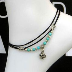 Elephant Anklet Antique Silver with Turquoise Bead Chain Foot Leather Bracelet #Feixingjewelry