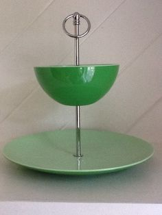 Vintage Bright Green 2 Tier Chip and Dip Bowl /Tray on Etsy, $12.00