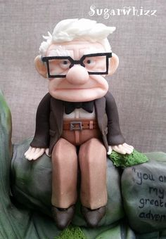 Mr Fredricksen - Up close and Personal - Cake by Sugarwhizz: Fondant Cake Tutorial, Fondant Cakes, Cupcake Cakes, Disney Up Cake, Disney Theme, Edible Creations, Clay Creations, Cake Models, Party