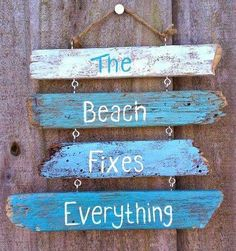 Driftwood sign with Saying the shore fixes everything ... or the beachfront cottage!? Great rustic solid wood beachfront offer sign. beachfront