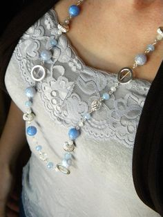 Long Beaded Necklace Silver Necklace Chunky by ElizabellaDesign, $31.00