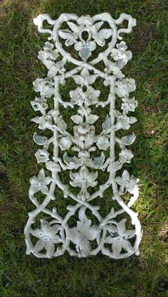 Shabby white chipped paint antique cast metal panel offered for sale by OldHouseChic at Etsy on May 23rd
