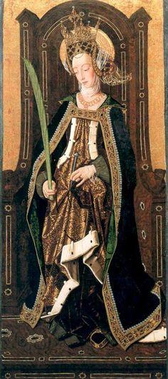 Santa Engratia,1474 , Bartolome Bermejo (1440-1500) Peintre espagnol formé aux Pays-bas .