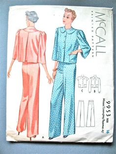 1930s McCall 9953 Misses' Lounging Pajamas by Fancywork on Etsy