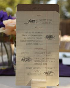 Notebook sketch menu designed by the groom, Erik Marinovich, and photo by Thayer Photo, via MS Weddings
