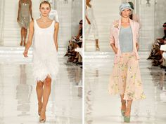 Ralph Lauren's collection has inspiration from the 20s era where women wore flapper dresses and suits along with neat accessories especially hats. Feathers, satin and silk was also used for the designs along with floral prints and pastels hues. Shimmery metallics and ivory shades were also seen. This is perhaps one of the best Spring 2012 collection, very soft and spring-y.