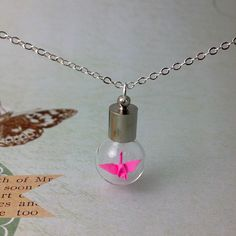 origami crane necklace glass bottle (pink)