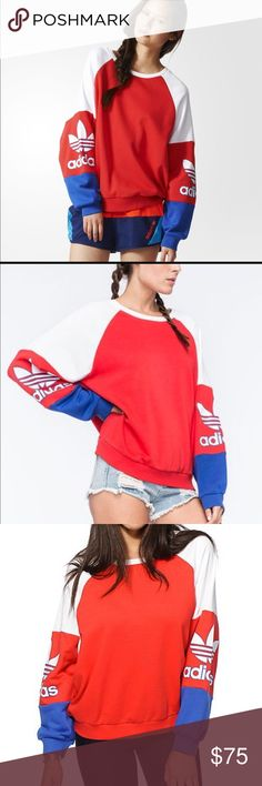 Adidas Originals Womens colorblock sweatshirt (L) New with tags... Womens Large Crewneck sweatshirt colorblock.. fits loose and baggy... PRICE FIRM!!!! Price is set already at Lowest Due to Posh fees no offers accepted... but I can do $65 free ship on ️ay ️al Adidas Sweaters Crew & Scoop Necks