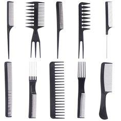10pcs/set Professional Salon Combs Set Black Plastic Barbers Hair Styling Tools Anti-static Hair Care Hairbrush Hairdressing