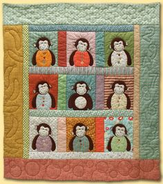 My brother had a baby girl this month! I decided to make a different version of the original 9-monkey quilt... a cute little quilt with only...