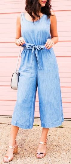 #summer #outfits chambray jumpsuit
