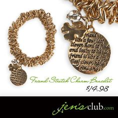"Friend Stretch Charm Bracelet From Regal      The perfect gift for a special friend, this lucky charm bracelet has a four-leaf clover, bead and disc charm engraved with this cute quote: ""A friend is like a four leaf clover; hard to find and lucky to have."" Stretch design fits most wrists. (2"" inner diameter)  Product Number - JC1019"