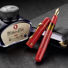 Pelikan M101N Bright Red Fountain Pen with Ink - Levenger