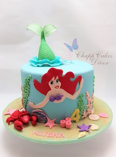 The Little Mermaid Cake Ariel, Sebasitian Under the sea. By ChappCakes Decor Little Mermaid Birthday Cake, Little Mermaid Cakes, 3rd Birthday Cakes, The Little Mermaid, Birthday Parties, Mermaid Cupcake Cake, 4th Birthday, Sirenita Cake, Bolo Fack