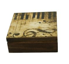 Piano box Music Gift storage box Jewelry box Music theme Treasure box Wood decoupage box Keepsake Home decor Music style Small storage box