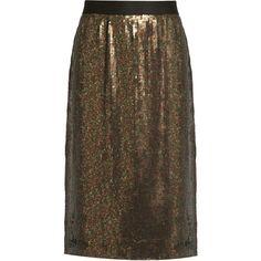 Tibi Sequin-embellished skirt (11 520 UAH) via Polyvore featuring skirts, iridescent skirt, knee length sequin skirt, party skirts, tibi и slit skirt