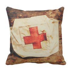#vintage - #WW2 nurse hat. Army medical corps Throw Pillow