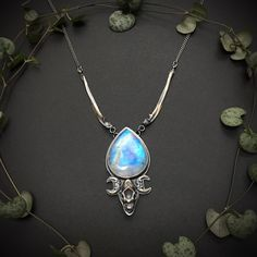 Bellatrix, Crossed Fingers, Cloudy Day, Rainbow Moonstone, Turquoise Necklace, Skull, Sterling Silver, Chain, Jewellery