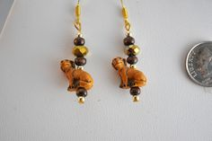 Yellow/Golden Lab Earrings with wood beads and crystals, dog earrings, Labrador Retriever, Lab lovers, animal jewelry, boho, pet jewelry, by OriginalsByCathy on Etsy