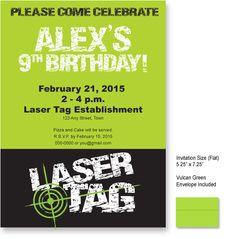 Laser Tag (Distress Look) Invitations