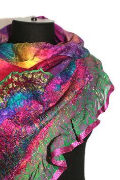 "Superfine Australian merino wool, Mulberry silk, Silk gauze fabric, silk yarn. Length 71"" (180 cm) Width 17 1/3"" (44 сm)"