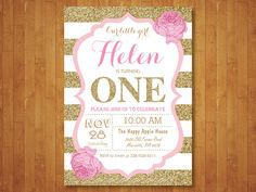 Pink and Gold First Birthday Invitation. Girl Birthday Party. Gold Glitter. Pink Gold White Black Stripes. Floral Flowers. Printable Digital by happyappleprinting on Etsy https://www.etsy.com/listing/265188846/pink-and-gold-first-birthday-invitation