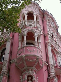 House Exterior Victorian Balconies Ideas For 2019 Pink Love, Pretty In Pink, Pink Pink Pink, Beautiful Buildings, Beautiful Places, I Believe In Pink, Pink Houses, Everything Pink, Palaces