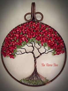 """""""Atbot Det Fuego"""" ~ The Flame Tree: 11""""x9"""", red coral and peridot gemstones, reclaimed copper. The Flame Tree or known in Guam by the Chamorro as """"atbot det fuego"""". Not indigenous to Guam, the Flame Tree's beautiful red flowers has it's own version of the """"tragic lovers"""" legend that you find in every culture. Like the legend of Two Lover's Point, the story of how the flame tree comes into being is a similar tale. Two families that are feuding are set on a tragic course when a a young boy and…"""