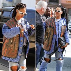 Rihanna was spotted heading to the Ocean's 8 movie set wearing a sweatshirt from the Dust magazine x Jurgi Persoons collaboration. Black Girl Fashion, Cute Fashion, 90s Fashion, Fashion Outfits, Rihanna Fashion, Best Of Rihanna, Rihanna Style, Rihanna Outfits, Girl Outfits