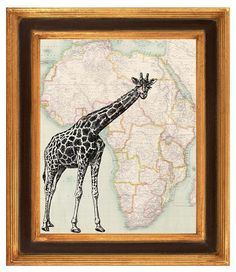 Printmaking  antique Africa map Giraffe vintage map by PrintLand, $13.50