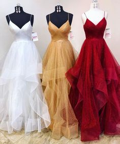 Unique 2018 spring long tulle ruffles evening dress, prom dress