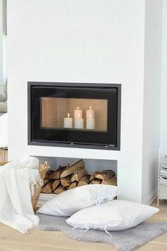 winter home decor White Interior, Home Fireplace, Fireplace Design, Home And Living, Home Living Room, Winter Home Decor, White Living, House Interior, Home Deco
