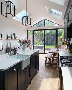 Kitchen Room Design, Home Decor Kitchen, New Kitchen, Home Kitchens, Open Plan Kitchen Dining Living, Open Plan Kitchen Diner, Living Room Kitchen, Kitchen Diner Extension, Kitchen Extension With Velux Windows