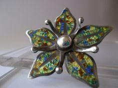 Vintage Margot de Taxco-Style Sterling & Confetti Enamel Flower Brooch