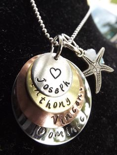 """www.facebook.com/inspiredcreationsbyheidi  Hand stamped """"layers of Love"""" necklace."""
