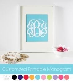 Get your own customized printable monogram for free! Just download the file, open in adobe reader, edit the monogram and print.