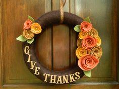 Thanksgiving Wreath  Fall Wreath  Yarn Wrapped by WreathinkGifting, $33.00