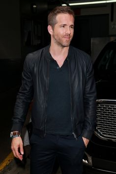 Ryan Reynolds spotted out and about in a classic leather bomber jacket.