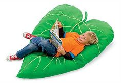 Why pull up a chair when you can pull up our comfy leaf cushion�its far more fun. Embroidered stem and veins make it seem just like perching in a tree! What a view! The best part is its big enough to share with a friend. So its also perfect under any of our HearthSong hideaways.