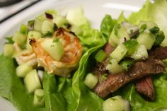 Steak and Shrimp Lettuce Wraps with Cucumber-Melon Salsa by Tara O'Keefe #Lettuce_Wraps #Steak #Shrimp #Tara_O_Keefe