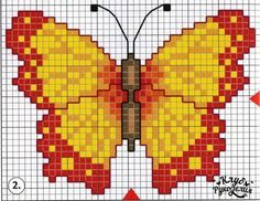 Cross stitch chart, a butterfly Butterfly Stitches, Butterfly Cross Stitch, Mini Cross Stitch, Cross Stitch Borders, Cross Stitch Designs, Cross Stitching, Cross Stitch Embroidery, Cross Stitch Patterns, Cross Stitch Pictures