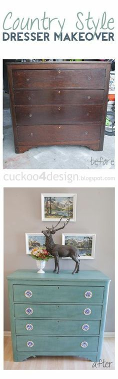 country style dresser makeover