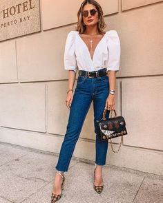 Street Style: The 30 Best Looks For Everyday - Outfit Ideas Cute Fall Outfits, Dressy Outfits, Jean Outfits, Stylish Outfits, Work Outfits, Outfit Jeans, Look Fashion, Fashion Outfits, Woman Fashion