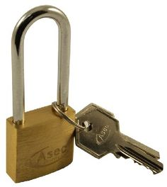 Door Furniture Direct Solid Brass 30mm Extended Shackle Padlock Security solid brass padlock with extended steel shackle and two keys. Approximate overall measurements are