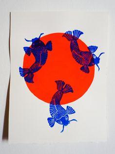Items similar to Linogravure Displays Sunfish Raising Orange Grenade Fluo on Etsy - - Linocut Prints, Art Prints, Art Japonais, Linoprint, Art Et Illustration, Art Graphique, Art Sketchbook, Graphic Design Inspiration, Japanese Art