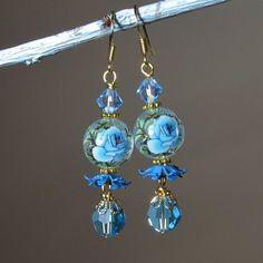 Blue Rose Earrings Floral Earrings by BluKatDesign on Etsy