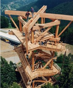 Graf-Holztechnik - Areas of activity - Observation towers - Hirschenkogel observation tower at Semmering, Lower Austria Architecture Texture, Timber Architecture, Amazing Architecture, Wood School, Lookout Tower, Tree House Designs, Timber Structure, Wooden Buildings, Tower House