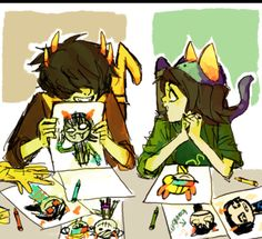 Nepeta trying teach Sollux how to draw<<< that's mituna you uneducated noodle